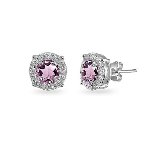 (Sterling Silver Simulated Alexandrite & White Topaz 5mm Round Halo Stud Earrings for Women Girls)