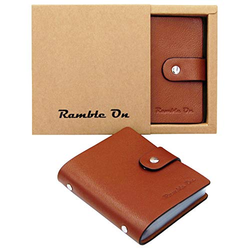 Genuine Leather Business Card/Credit Card Holder Case by Ramble On - Holds up to 80 Business Cards or 40 Credit Cards - for All your Important Cards - Comes in a Great Gift Box (Brown)