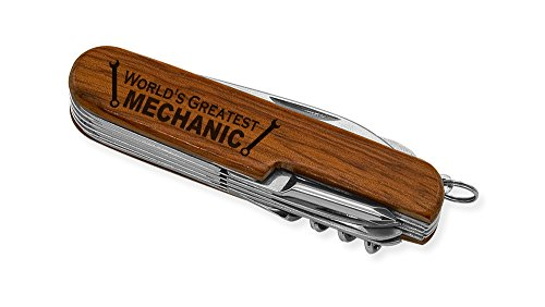 Dimension 9 World's Greatest Mechanic 9-Function Multi-Purpose Tool Knife, Rosewood