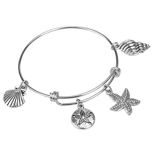 Bangles Bangle Shell (Hazado SeaShell Starfish Expandable Bangle Beach Jewelry Beach Lover Charm Bracelet Beach Wedding Bridesmaid Gift Sand Dollar Charm)