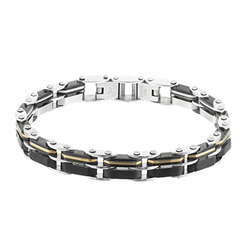 Giorgio Milano 1657STBK 2 Tone Reversible Stainless Steel IP Gold and Black Plated Bracelet