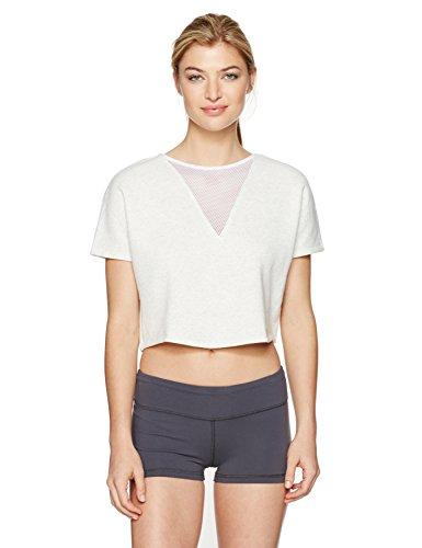 (Alo Yoga Women's Viva Short Sleeve Top, White Heather S)