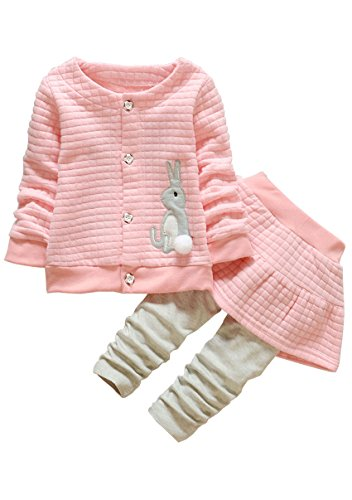 Kids Clothes Girl Baby Long Sleeve Cotton Clothing Pants Outfits Set(Rabbit Pink.2-3 - 3years Clothes Baby
