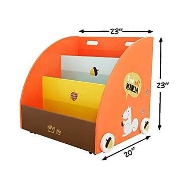Semi Circolare Forma Arancione Pino libreria/ripiano libreria mobili Hessie Little Toddler Kids Portable Libreria in legno/libreria su ruote