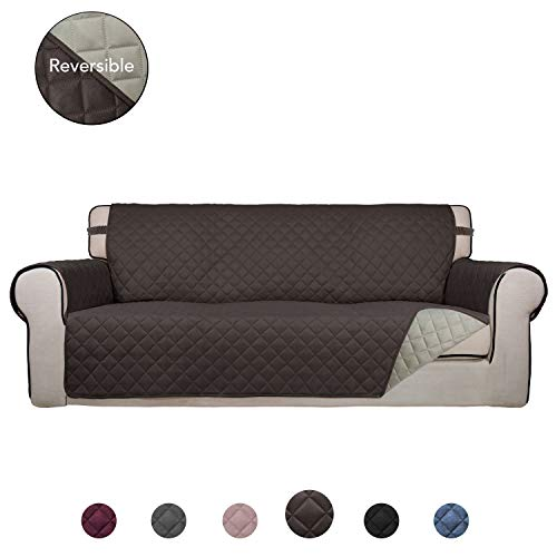 PureFit Reversible Quilted Sofa Cover, Water Resistant Slipcover Furniture Protector, Washable Couch Cover with Anti-Slip Foam and Elastic Straps for Kids, Dogs, Pets (Sofa, Chocolate/Beige) (Quilted Protector Couch)