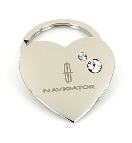 Lincoln Navigator Heart Shape Keychain W/2 Swarovski Crystals