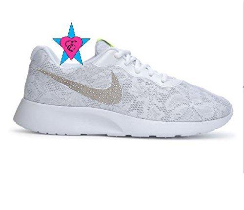 Women Glitter Pearl White Nike Lace ENG Tanjun Wedding Sneakers by Eshays