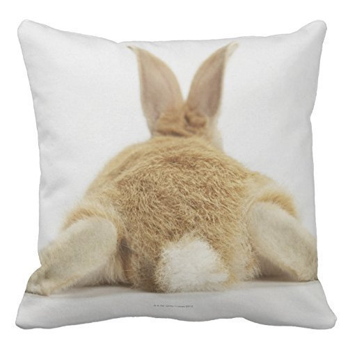 Towel&bag Animal Pattern Funny Pillow Cover Cotton 18 X 18 Cushion Cover Beige Bunny Rabbit On White Background 3 Throw Pillowcases