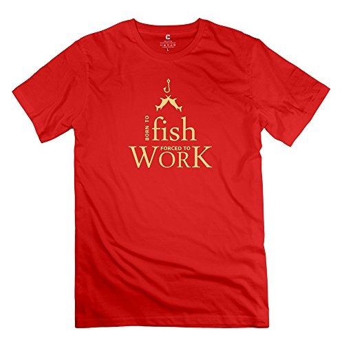 Classic Born Fish Tshirt Man's Crew-Neck Tshirt Red Size M