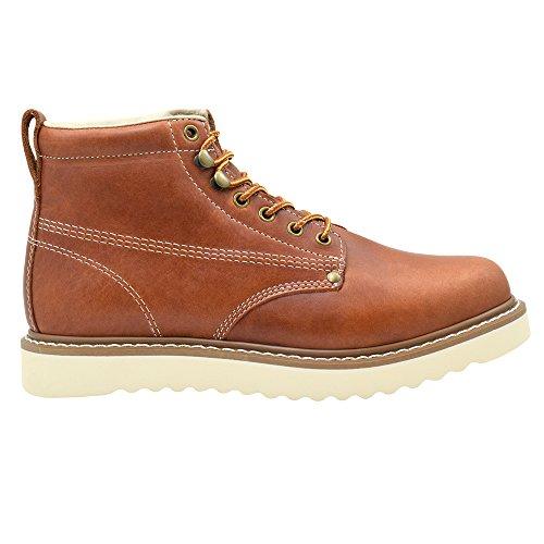 Golden Fox Men's Plain Toe Work Boots Lightweight Size 9.5 D(M) US Brun