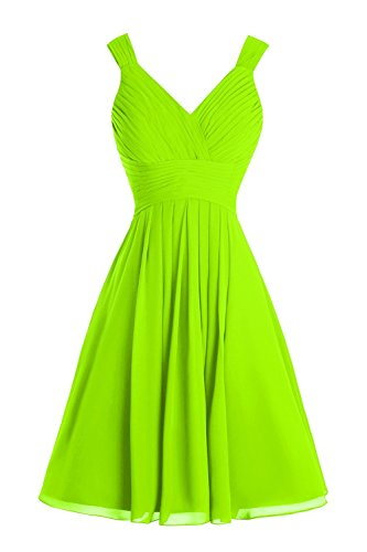 YanLian Women's Straps V-neck Chiffon Short Bridesmaid Prom Dress Lime Green US2