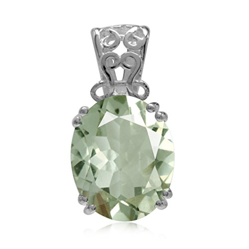 4.32ct Natural Green Amethyst Sterling Silver Filigree Solitaire Pendant