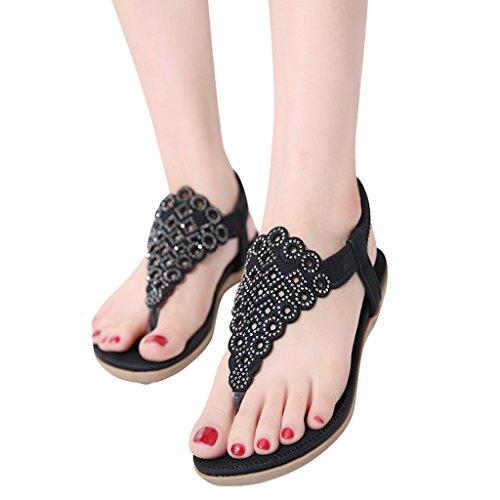 Lieve Tijd T-strap Flats Zomer Dames String Sandalen Zwart