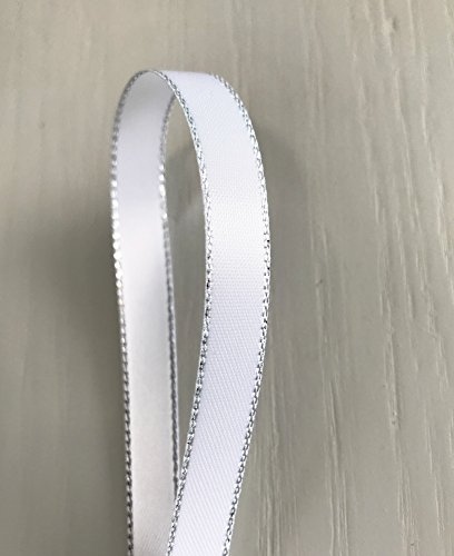 100% Silk Satin Ribbon (White Double Face Satin Ribbon with Silver Border, 1/4