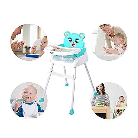 Blau Kinder hochstuhl Baby 4 in1 Kinderhochstuhl Baby Essstuhl Sitzerh/öhung Treppenhochstuhl Klappbar mit Tablett H/öhenverstellbar