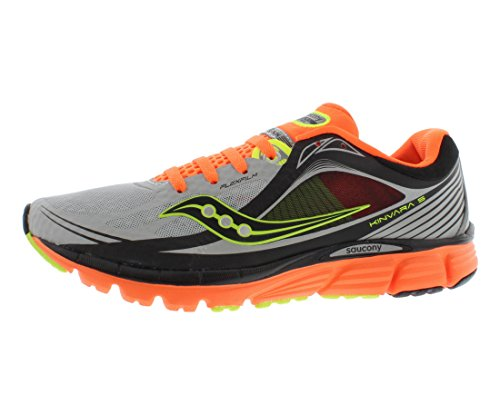 Saucony Men's Kinvara 5 Vizi Glo Running Shoe,Silver/Vizi Orange/Citron,9.5 M US