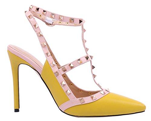 spangen avec creux escarpins de chaussures oversize MONICOCO boucle rivets t cuir en verni Gelb candy PU couleurs ICIOwqFX