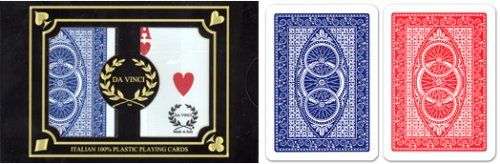 24 sets (48 decks) Da Vinci Ruote, Italian 100% Plastic Playing Cards, Poker Size Regular Index