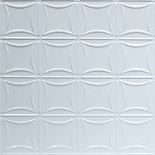 Shanko W201LIG Pattern 201 Pressed Metal Lay-in Grid Ceiling Tile, 20 sq. ft, White, 5 Piece (Piece Decorative Tile 5)