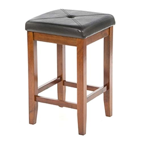 Hickory Furniture Leather Old (CHOOSEandBUY Set of 2-24-inch High Cherry Bar Stools w/Cushion Faux Leather Seat New Sturdy Classic Elegant Furniture)