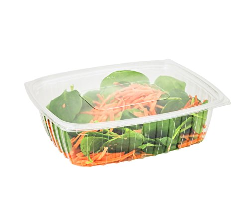 Dart C32DER, 32-Ounce ClearPac Clear Rectangular Plastic Container With A Flat Lid, Take Out Salad Deli Fruit Food Disposable Containers (50) Container Flat Lid