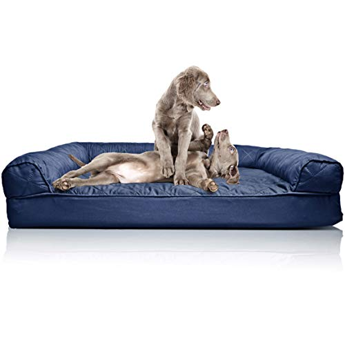 (Furhaven Pet Dog Bed | Orthopedic Quilted Sofa-Style Couch Pet Bed for Dogs & Cats, Navy, Jumbo)
