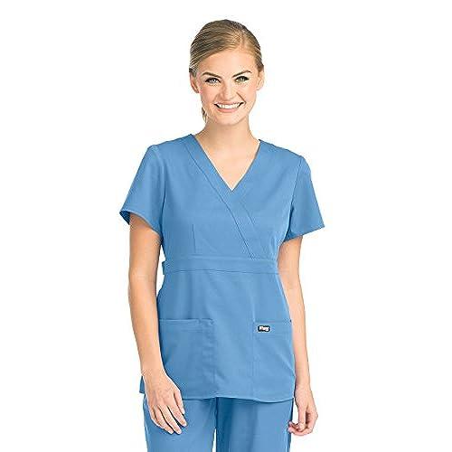 Greys Anatomy Womens Junior Fit 3 Pocket Mock Wrap Scrub Top, Ceil Blue, Small