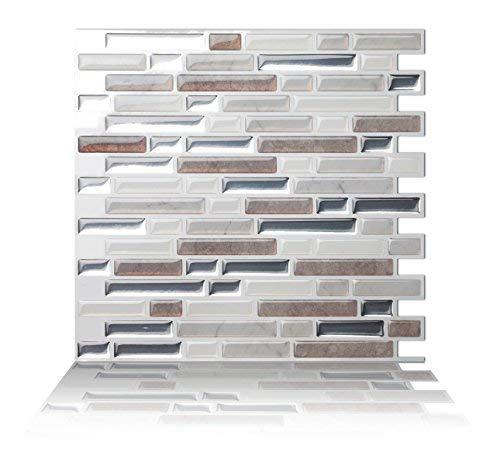 Tic Tac Tiles 1-Sheet Peel and Stick Self Adhesive Removable Stick On Kitchen Backsplash Bathroom 3D Wall Sticker Wallpaper Tiles in Como Pebble