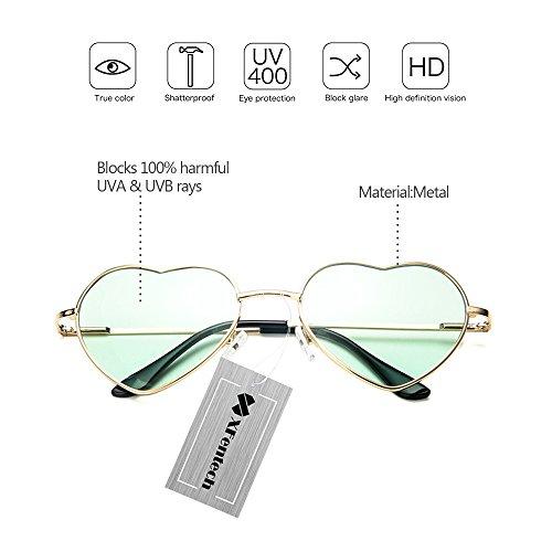 UV400 Femmes Les Gradient Couleur Coeur de Soleil Cadre Transparent Or XFentech Vert Forme Retro En Lunettes Mode pour wfUOXCq