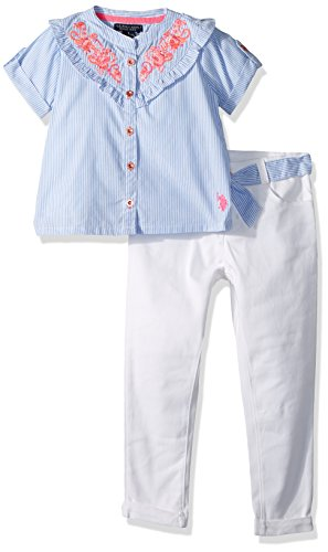 U.S. Polo Assn. Girls' Little Fashion Top and Legging Set, Stripe Printed Yoke Ruffle Blouse Twill Pant Multi, 5