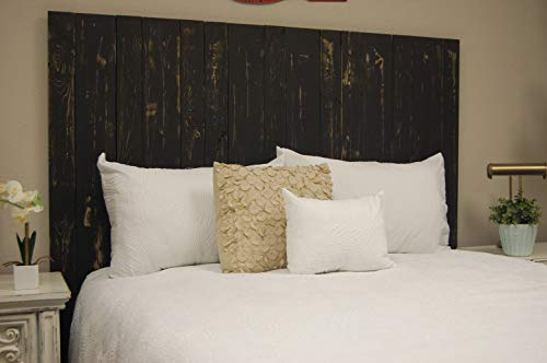 Black Headboard Weathered King Size, Hanger Style, Handcrafted. Mounts on Wall. Easy Installation