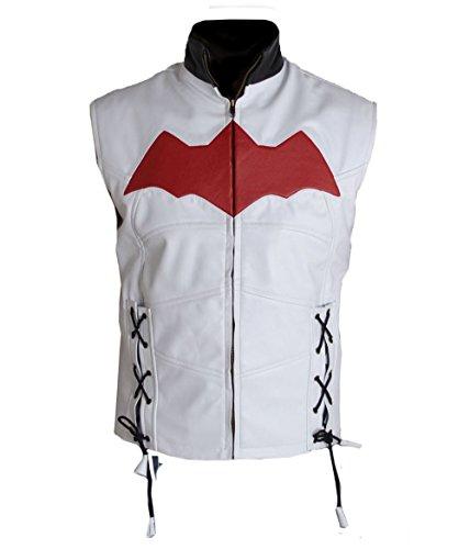 HLS Batman Arkham Knight Faux Leather Vest XXS-5XL Black White Red