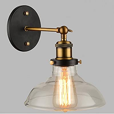 WINSOON Industrial Edison Old Fashion Antique 1-Light Wall Sconce and Clear Glass Shade Simplicity