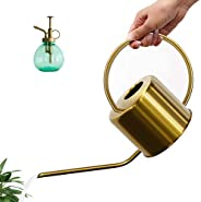 Watering Can for Indoor Plants, 1.3L/40oz/0.28Ga Long Spout Stainless Steel Vintage Watering Pot to Water Outd