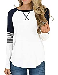 Womens Color Block Round Neck Tunic Tops Casual Long Sleeve Shirt Blouse