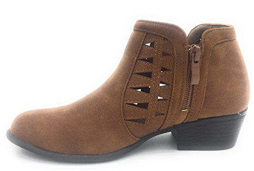 Heel Women's Bootie Moda Ankle Top Cutout Triangle Boot Tan Stacked Spaza Chunky Side qzxfwPnEpx