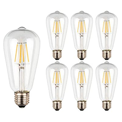 E26 Antique LED Bulb, Ascher 4w ST64 Vintage Edison Not Dimmable Light Bulb, Warm White 2700K, 40W Incandescent Bulb Equivalent, 420LM, Pack of 6