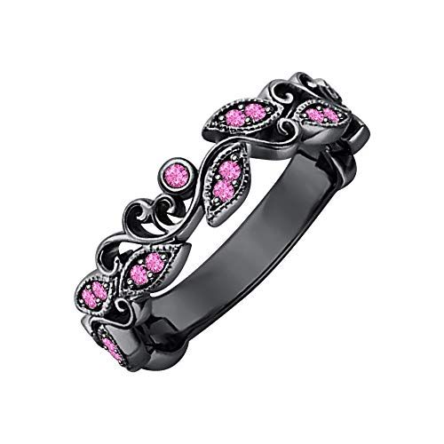 (SVC-JEWELS Unique Leaf Flower Engagement Ring Round Pink Sapphire 14k Black Gold Plated Art Deco Women's Promise Ring)