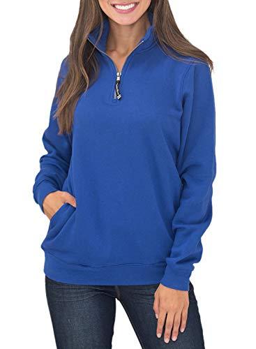 Malaven Women Sweatshirt with Pockets 1/4 Zipper Fleece Pullover Sweatshirts Oversized Blue M 8 10