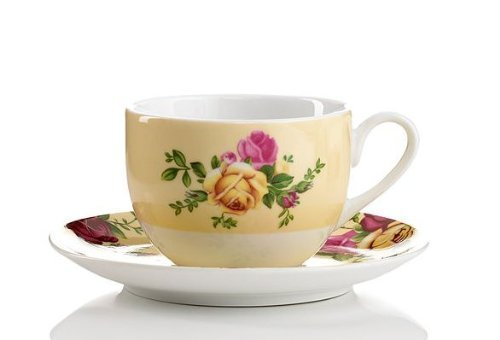 Royal Albert Country Rose Buttermilk Tea Cup & Saucer Set