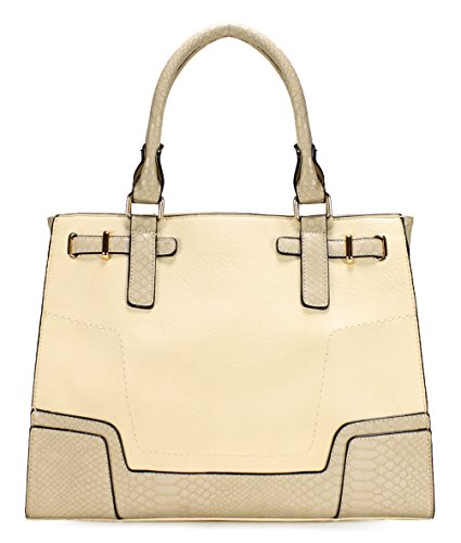 Scarleton Classy Chic Satchel H195202 - (Natural Fabric Handbags)
