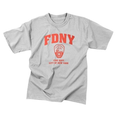 Grey Officially Licensed FDNY Physical Training T-Shirt, Size Large