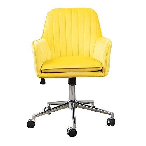 ARDICO Home Office Chair with Middle Back, Modern Design Velvet Desk Task Chair with Arms in Study Bedroom (Yellow)