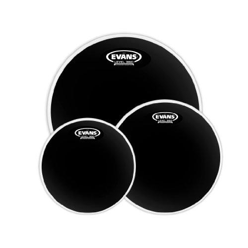 Evans Black Chrome Tompack, Rock (10 inch, 12 inch, 16 (Black Tom Drum Head)
