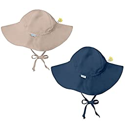 i play 2 Pack UPF 50+ Sun Protection Brim Toddler Sun Hats-2T-4T-Beige-Navy Blue