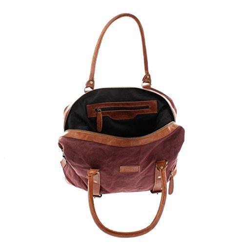 LECONI XL Shopper für Damen & Herren Unisex Handgepäck Vintage-Style kleiner Weekender Sporttasche Used-Look Fitnesstasche aus Canvas + Leder 50x38x12cm LE2006-C bordeaux / braun O3jGxpEKy