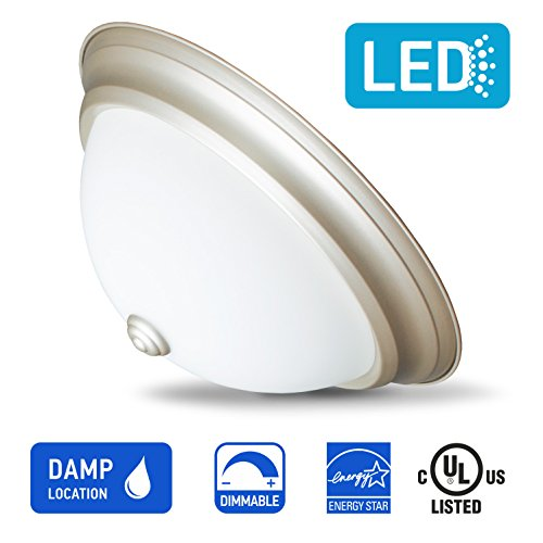 IN HOME 13-inch LED Glass Flush mount Ceiling Light GL Series, 18w (90W equivalent), Dimmable, 4000K (Bright white), 1000 Lumens, Nickel Finish with Opal glass (Opal Glass Flush)