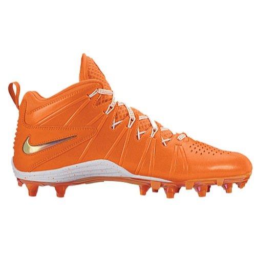 Nike Mens Huarache 4 Lax LE Lacrosse Cleats (6.5 M US, Orange/Metallic Silver/White) (Nike Cleats Huarache Lacrosse)
