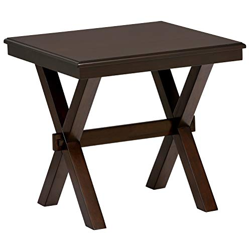 Ravenna Home Flush Mount Wood Cross Side Table, 23.6 W, Dark Brown Walnut
