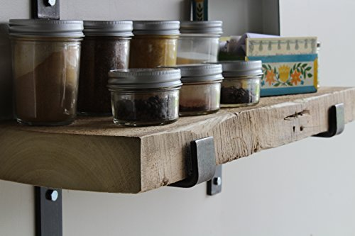 Reclaimed Wood Accent Shelves Rustic Industrial - Amish Handcrafted in Lancaster County, PA - Set of Two   24 Inches, (Genuine Salvaged/Reclaimed with Raw Metal Brackets) (Natural 24''x 7''x 2'') by Urban Legacy (Image #3)